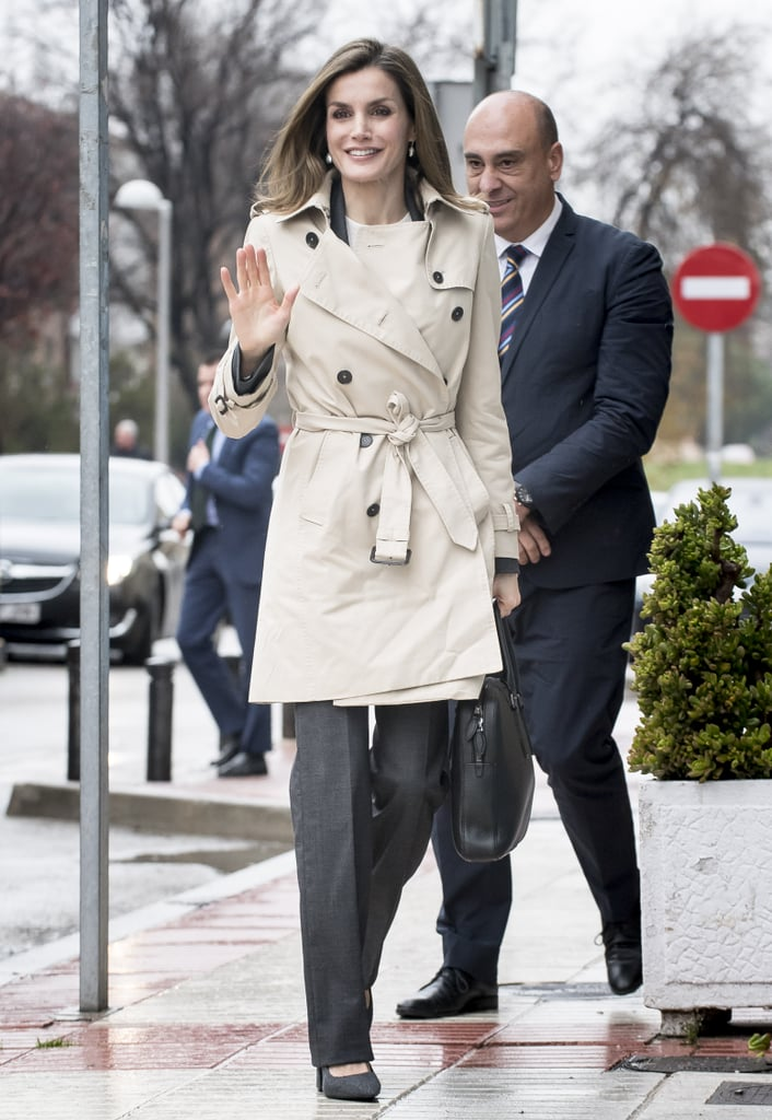 Queen Letizia's outwear collection continued its reign as the best ever when the stylish Spanish royal stepped out for a UNICEF committee meeting on a chilly Fall day in Madrid on Dec. 16. Letizia paired her favorite work look — gray monochrome trousers and Uterque pumps — with a simple trench coat that added just the right amount of sophistication for an important day with global leaders. Letizia kept her hair in a sleek and straight style, opting for a simple makeup look, featuring a touch of lip gloss, to tie it all together. See more pictures of the office ensemble you'll want to steal from this queen, then admire her best looks of the year.      Related:                                                                Queen Letizia Just Wore the Velvet Blazer Your Holiday Party Wardrobe Needs                                                                   15 Times Queen Letizia Showed She's Not a Regular Royal, She's a Cool Royal                                                                   When It Comes to Fashion, Queen Letizia Is No Old-School Royal — Her 2016 Style Proves It