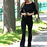 Gisele Bundchen wore black pants to work out.