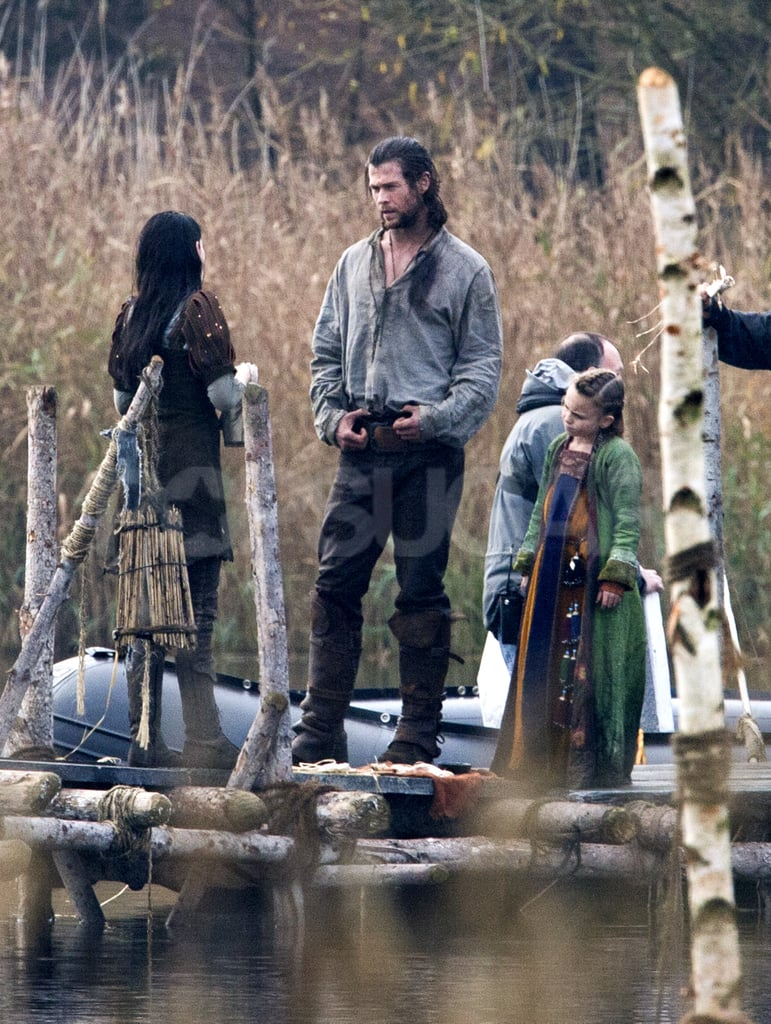 Kristen Stewart and Chris Hemsworth on location for Snow White and the Huntsman.