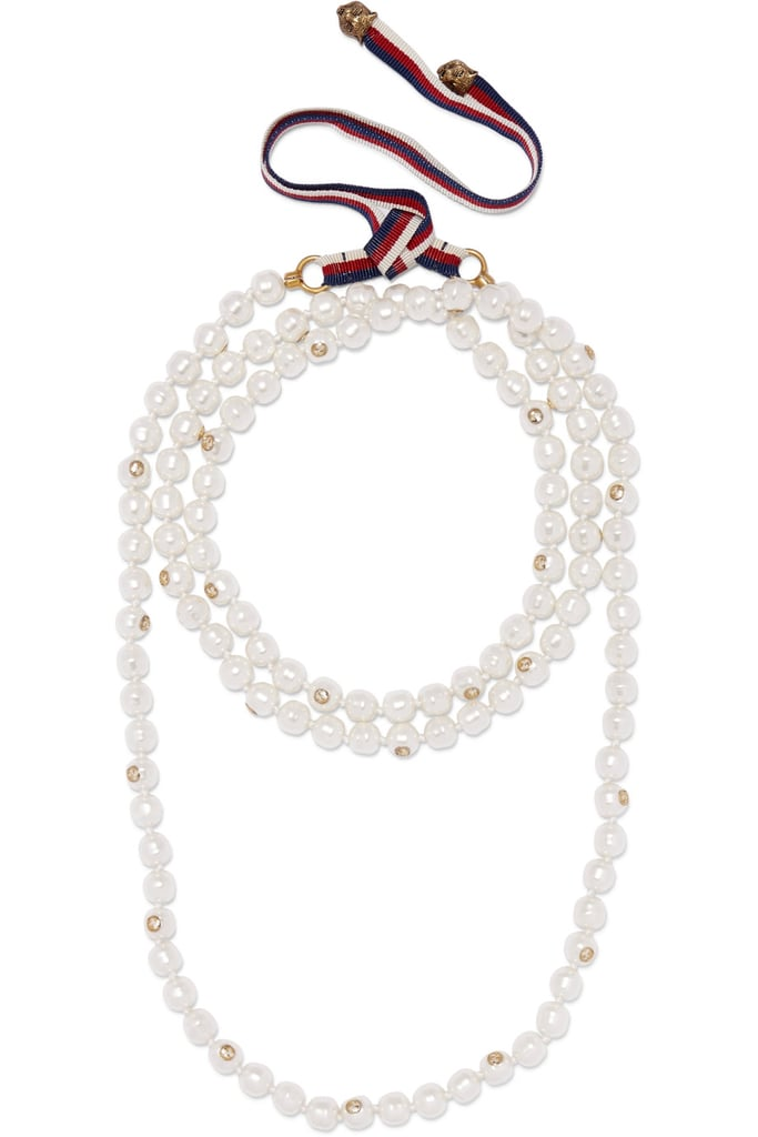 fd70d06bfbf Invest in a forever classic with this Gucci Faux Pearl and Gold-tone  Necklace (
