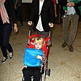 Naomi Watts pushed Samuel Schreiber through the Sydney airport.