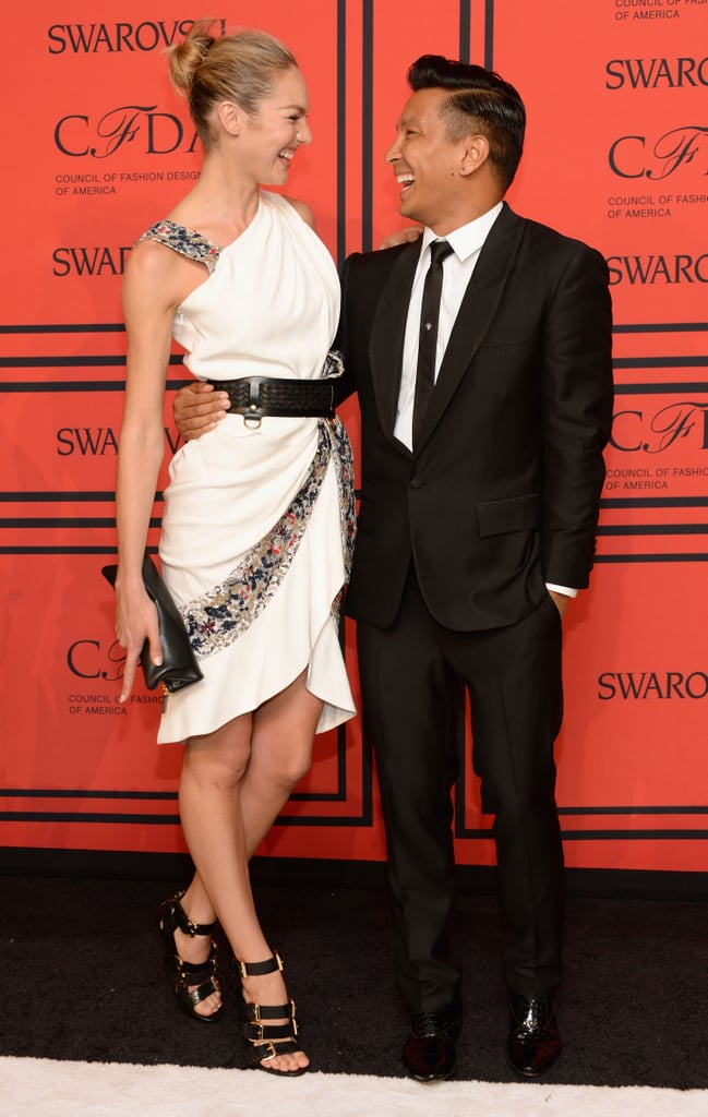 Candice Swanepoel laughed with designer Prabal Gurung on the red carpet.
