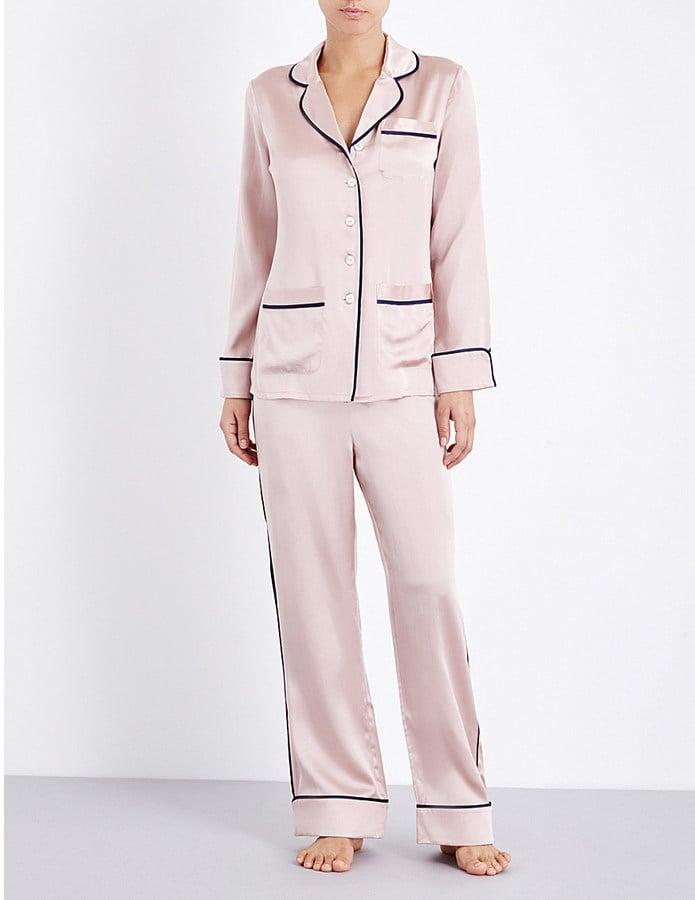 OLIVIA VON HALLE Coco Oyster Silk-Satin Pyjama Set ($370)