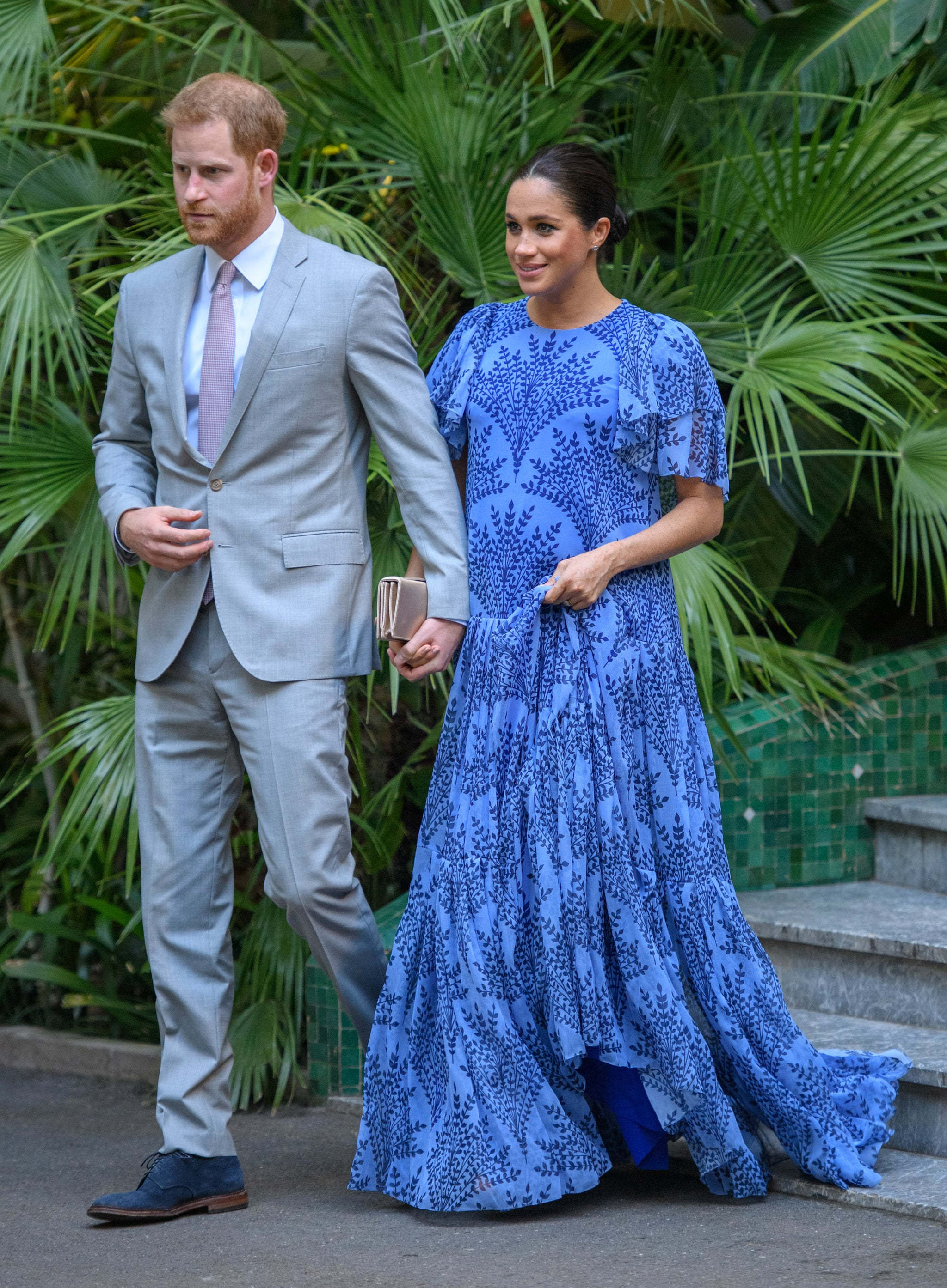 RABAT, MOROCCO - FEBRUARY 25: (UK OUT FOR 28 DAYS) Prince Harry, Duke of Sussex and Meghan, Duchess of Sussex with King Mohammed VI of Morocco, during an audience at his residence on February 25, 2019 in Rabat, Morocco.  (Photo by Pool/Samir Hussein/WireImage)