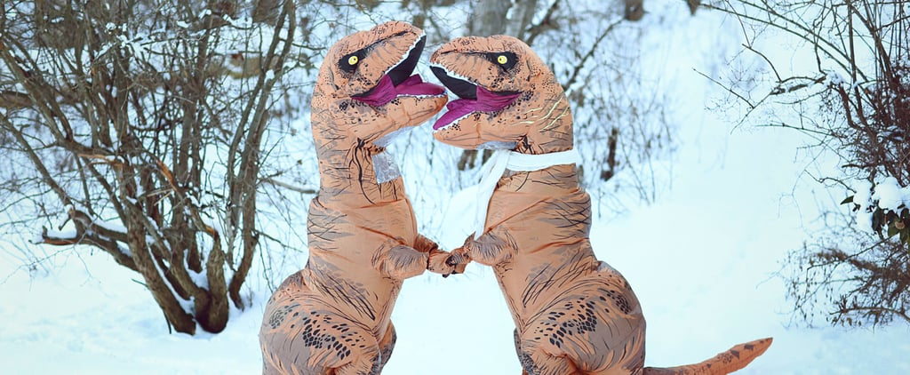 2 People Dressed Up in T-Rex Costumes For the Most Ridiculously Awesome Engagement Shoot