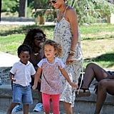 Halle Berry and Nahla Aubry made new friends at the park.