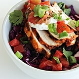 Thursday: Fresh burrito bowl with grilled chicken (350 calories) and half a cup of fresh blueberries (42 calories): 392 calories  Friday: Spicy chicken chili (324 calories) with two cups of sliced cucumber (32 calories) and two tablespoons of yogurt dill dip (20 calories): 376 calories