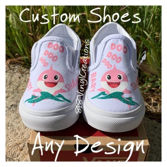 Pink Baby Shark Custom Vans Slip-Ons