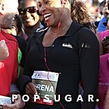 Serena Williams was all smiles during her 5K event, Serena Williams Ultimate Run, in Miami on Sunday.