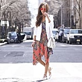 A White Blazer Over a Bold Dress