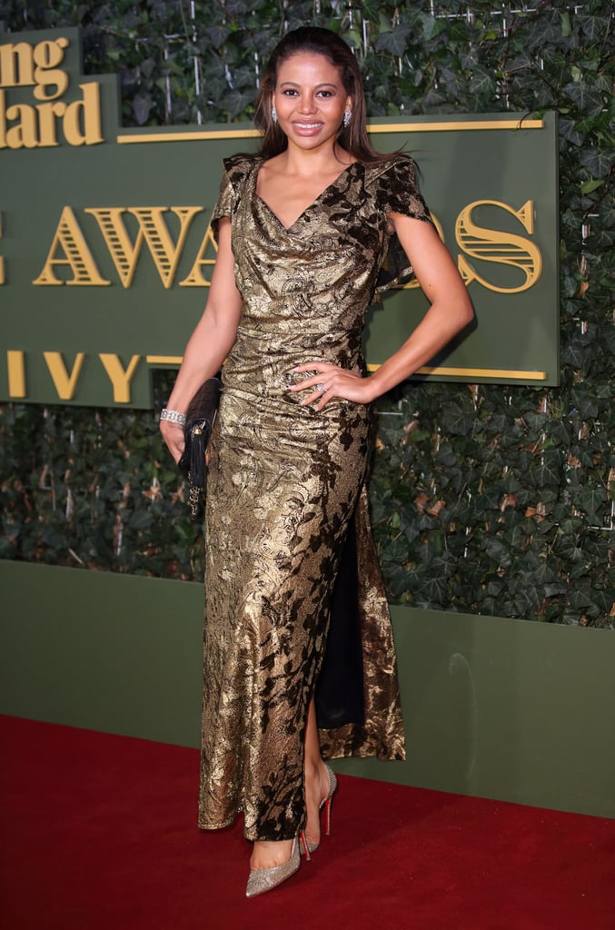 Wearing a gold brocade gown to the Evening Standard Theatre Awards in 2015.