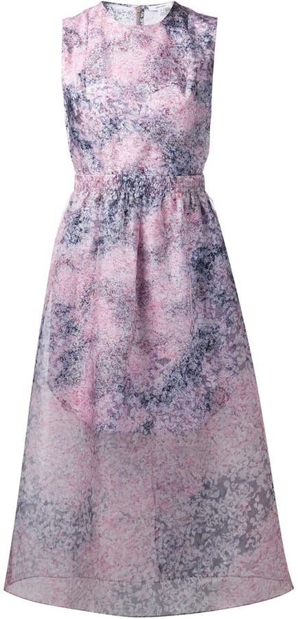 Carven Floral Sheer Overlay Dress | Rihanna\'s Purple Badgley Mischka ...