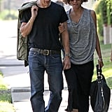 Olivier Martinez and Halle Berry chatted as they walked through LA together.