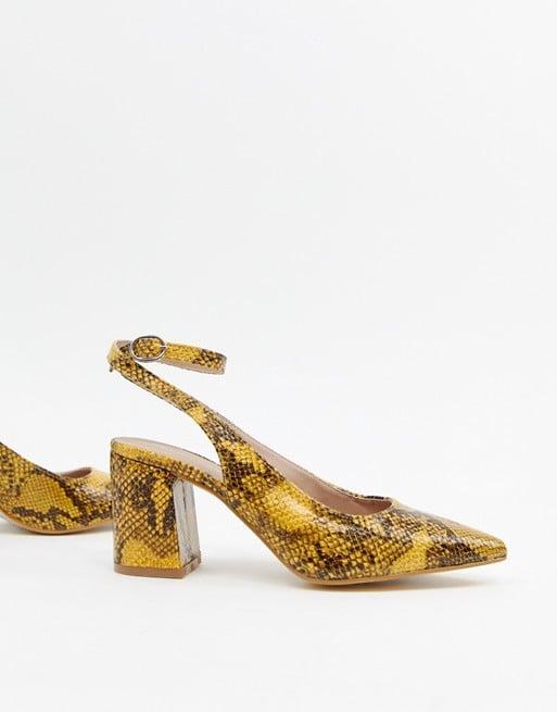 c4d97ce20f4 New Look Slingback Block Heeled Shoes in Snake Print   Priyanka ...