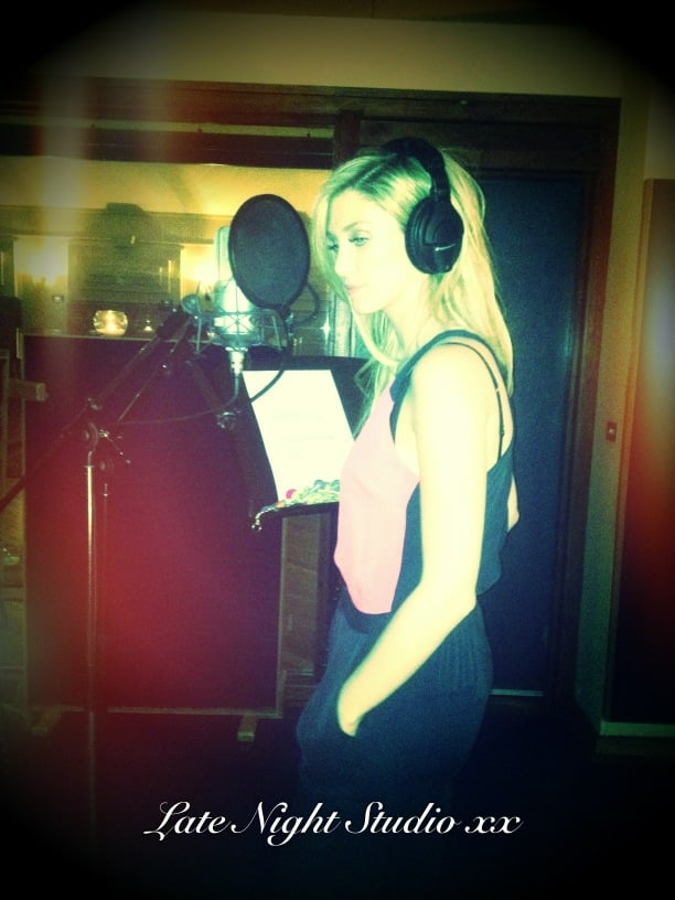 Delta Goodrem captured a late night recording session. Source: Twitter user delta_goodrem