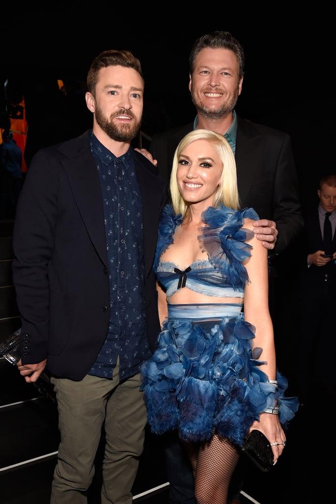 Pictured: Gwen Stefani, Justin Timberlake, and Blake Shelton