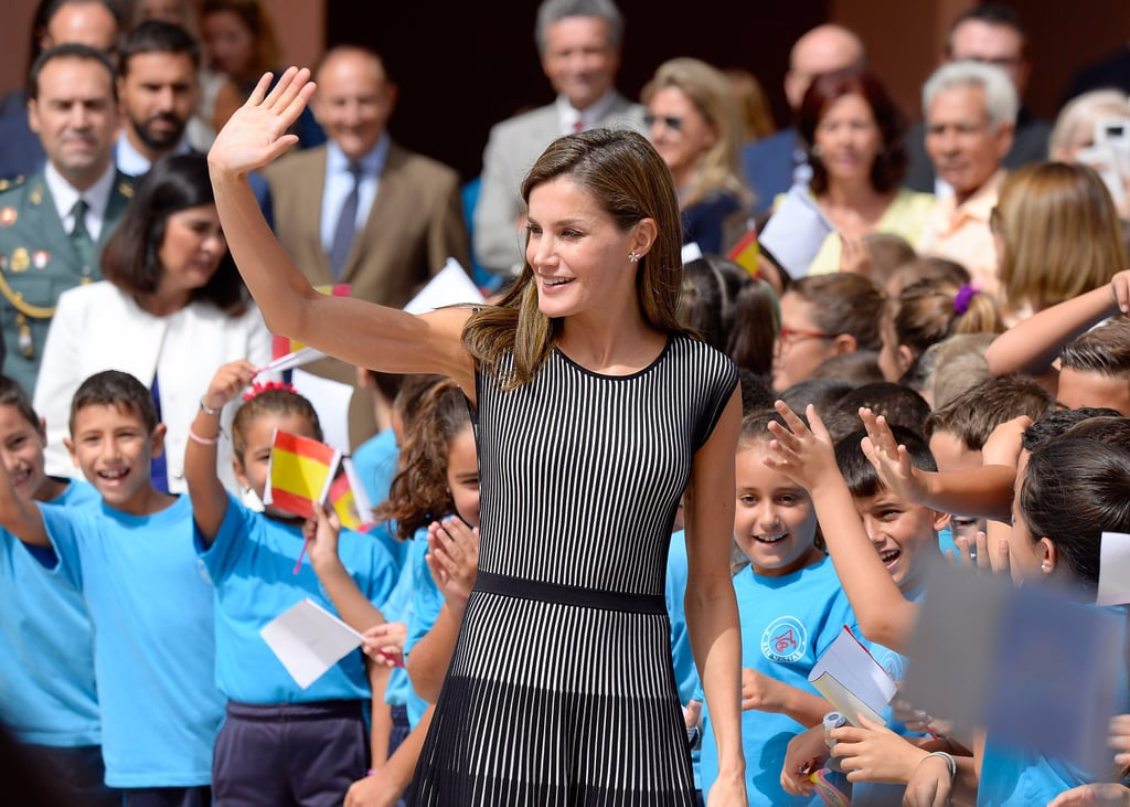 Queen Letizia Hugo Boss Stripe Dress September 2017