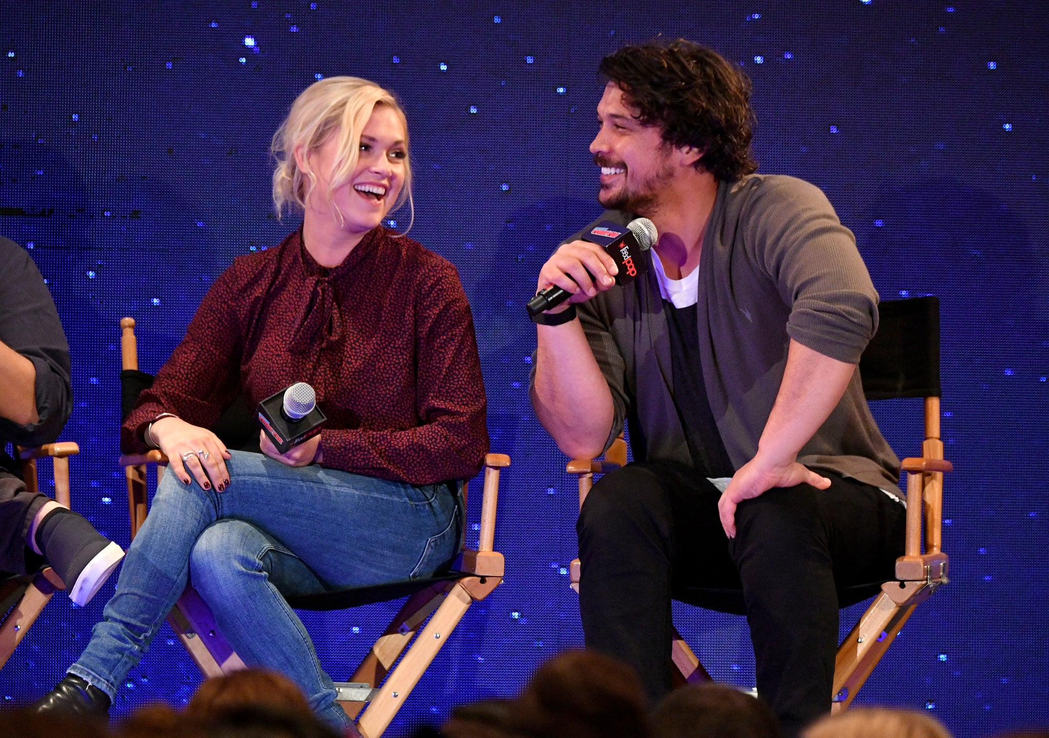 NEW YORK, NY - OCTOBER 06:  Eliza Taylor and Bob Morley speak onstage at the WBTV Panel Block: The 100 panel during New York Comic Con at Jacob Javits Centre on October 6, 2018 in New York City.  (Photo by Dia Dipasupil/Getty Images for New York Comic Con)