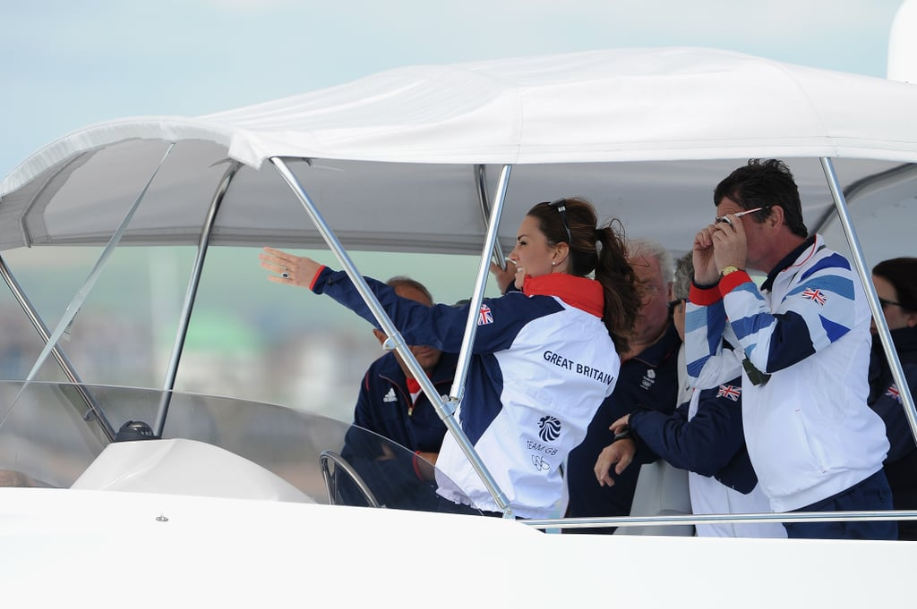 Kate Middleton watched Olympic sailing in Weymouth, England.
