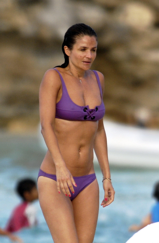 Photos of helena christensen in a bikini on st bart s vacation