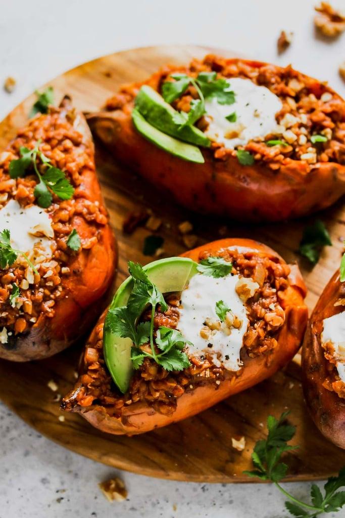 Smoky Lentil-Stuffed Sweet Potatoes