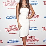 At the September 2012 LA screening of Hotel Transylvania, Selena Gomez chose a little white Versace dress with silver metallic detailing and studded Christian Louboutin ankle-strap pumps.