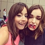 "Chloe Bennet and Elizabeth Henstridge were just ""waiting for the panel to begin like the professionals we are."" Source: Instagram user chloebennet4"