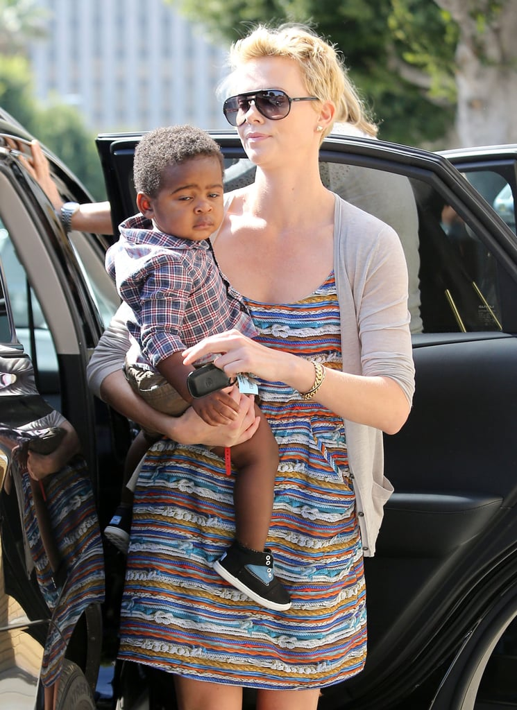 Charlize Theron wore a colorful dress as she picked up Jackson Theron.
