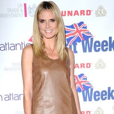 Heidi Klum Wears a Leather Dress With Lace and Leather Shoes