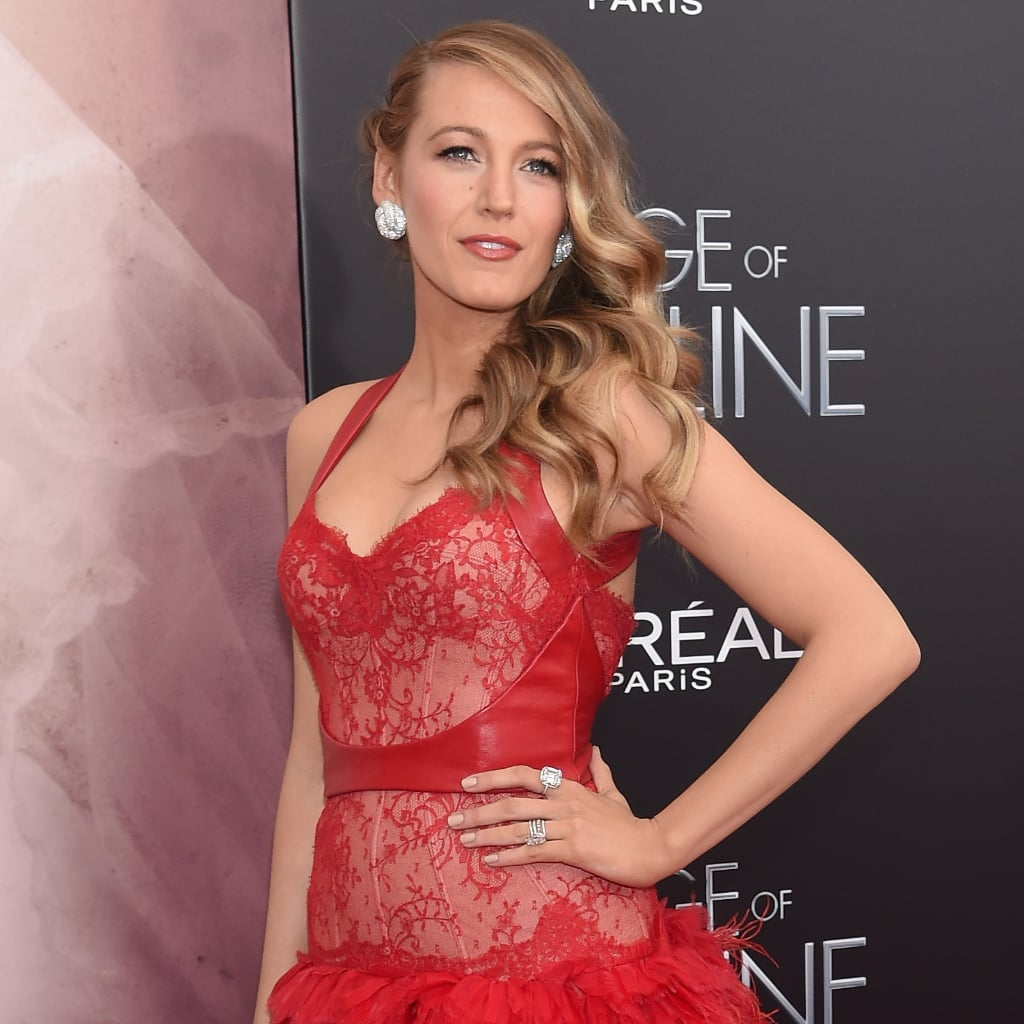 Blake Lively Wearing Monique Lhuillier Red Dress  POPSUGAR Fashion