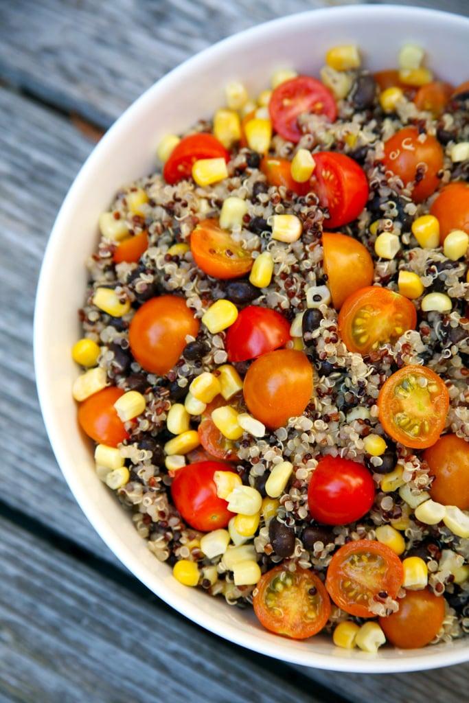 Quinoa, black bean, corn, and tomato salad — 309 calories
