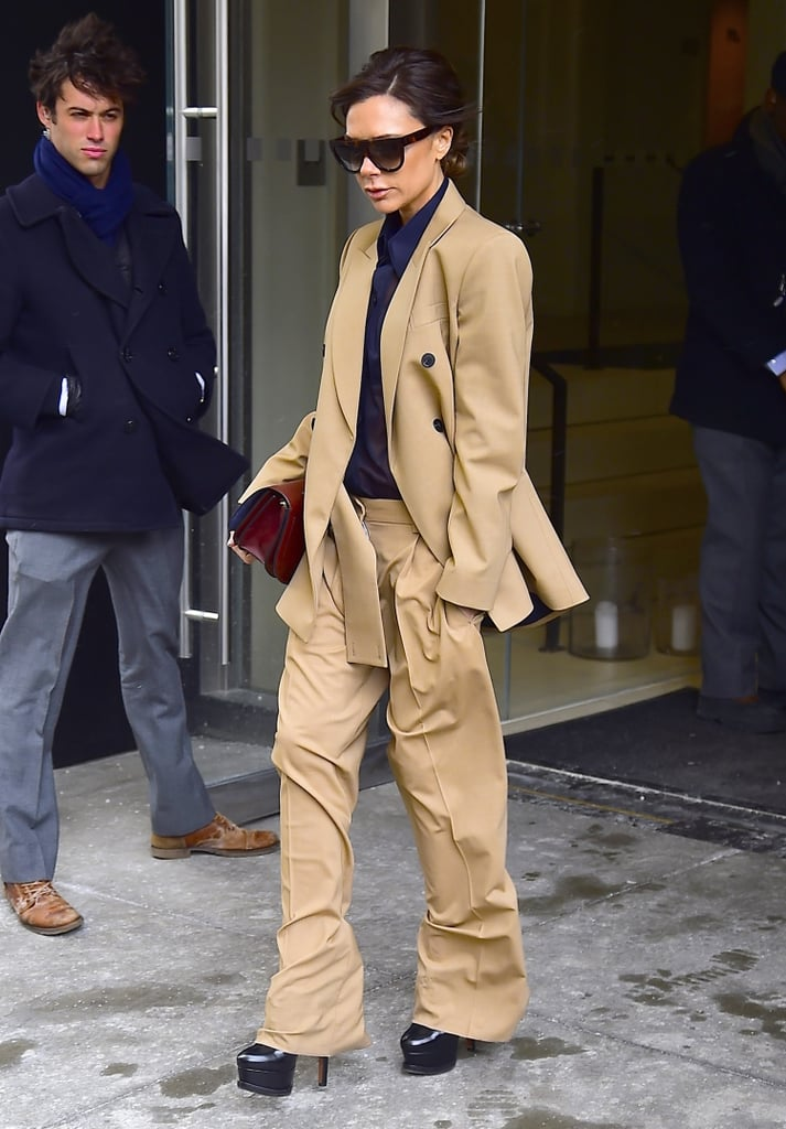 Wearing a Turtleneck Sweater and Camel-Colored Suit | Victoria ...