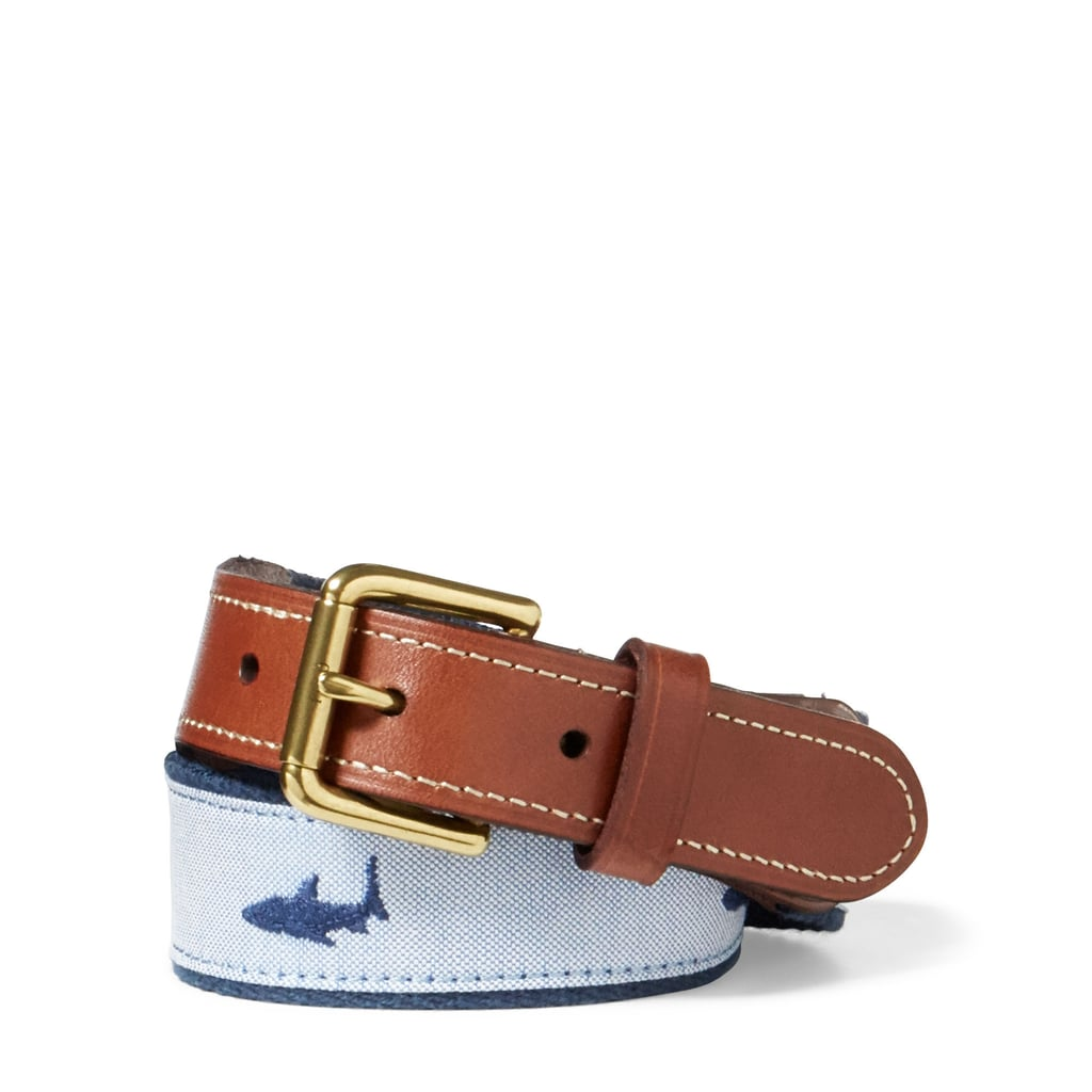 Ralph Lauren Shark-Overlay Webbed Belt
