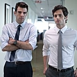 Penn Badgley and Zachary Quinto in Margin Call.  Photo courtesy of Roadside Attractions