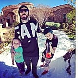 Travis Barker wished people happy holidays alongside his little ones. Source: Instagram user travisbarker