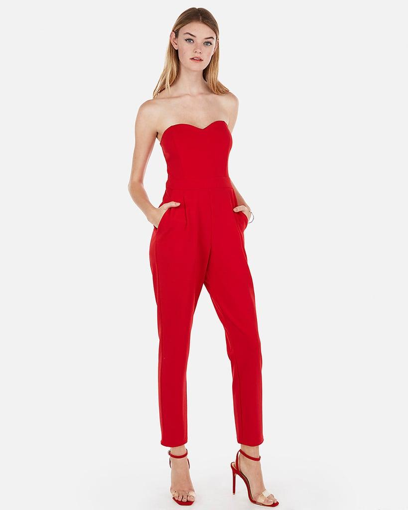 6af82640d Express Strapless Sweetheart Neck Jumpsuit | Amal Clooney Red ...