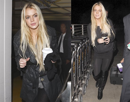 Photos of Lindsay Lohan Boarding a Flight to India in LA
