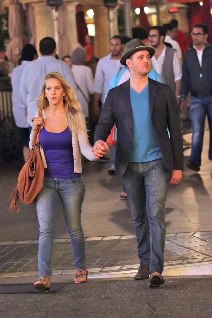 """Michael Bublé and his wife, Luisana Lopilato, walked hand in hand through The Grove in LA yesterday. They were spotted on the sweet stroll after Michael revealed that the outdoor mall is one of his favorite spots during an appearance for Beringer & Bublé in St. Helena last weekend. Michael told us about himself and Luisana, saying, """"We love going to The Grove. I'm friends with the gentleman who owns it. I just think it's such a romantic place."""" Michael Bublé also shared about another date night favorite, Tra di Noi, in Malibu. The couple may count Hollywood as one of their homes, but Michael and Luisana seemed to enjoy their recent time in Northern California. Luisana took advantage of her first trip to Napa by lounging poolside and getting a massage, while Michael talked wine with fellow enthusiast Jason Priestley and took the stage in front of about 300 lucky fans and special guests. Michael will be back to performing when he returns to his Crazy Love tour in his home country of Canada in August before wrapping things up in Mexico at the end of the Summer."""