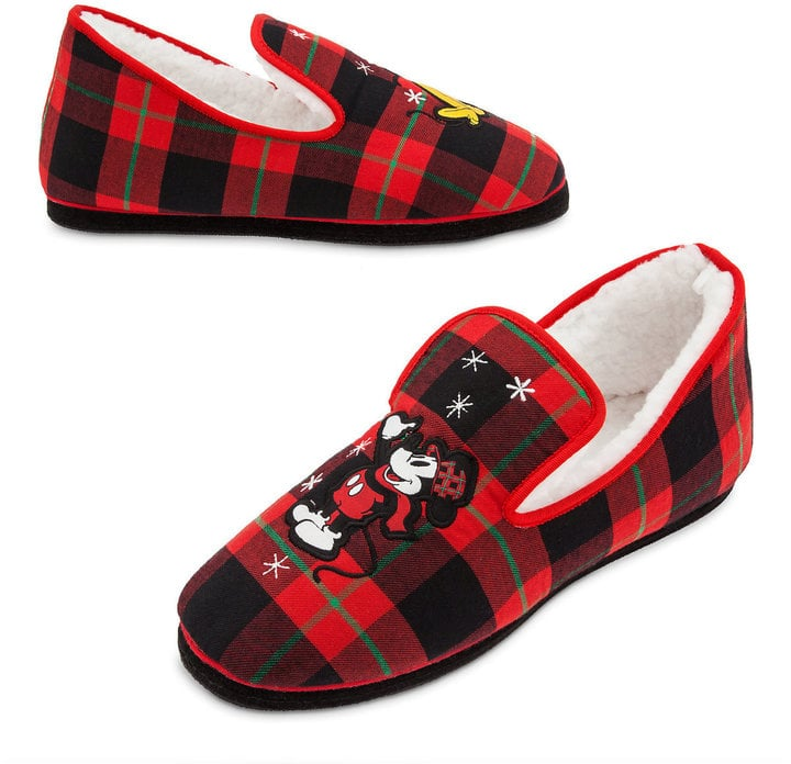 Disney Mickey Mouse And Pluto Holiday Plaid Slippers Cheap Disney