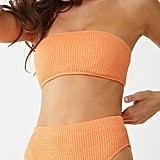 Seersucker High-Waist Bikini Top and Bottoms