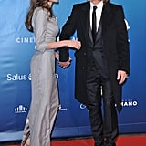 Angelina Jolie and Brad Pitt got playful on the red carpet.