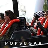 Kim Kardashian was texting during a roller-coaster ride with Bruce and Kris Jenner at Six Flags Magic Mountain on Tuesday.