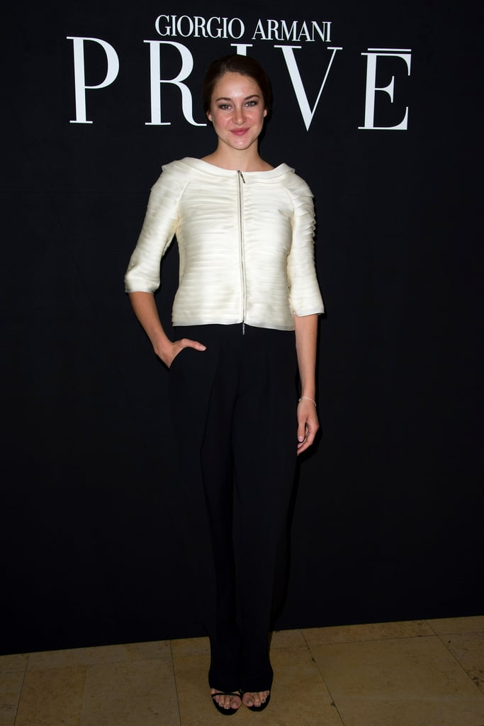 Shailene Woodley chose an ultraelegant ensemble for Armani Privé.