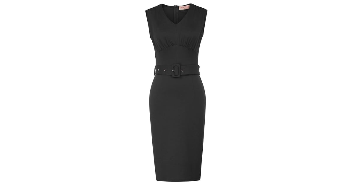 Belle Poque Sleeveless V Neck Wear To Work Formal Belted Pencil