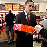 Buying Dunkin' Donuts for New Hampshire campaign volunteers in 2008