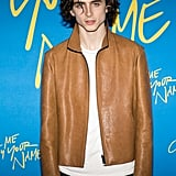 Timothée wore yet another effortlessly chic jacket to the Paris premiere of Call Me By Your Name in 2018.
