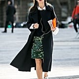 Add sneakers to your pencil skirt instead of your pumps.