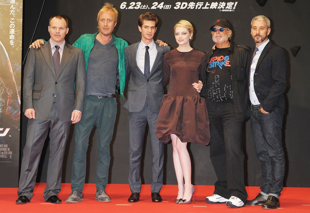 Director Marc Webb, and cast-mates Rhys Ifans, Andrew Garfield, Emma Stone, Avi Arad, and Matt Tolmach got together at The Amazing Spider-Man premiere in Japan.