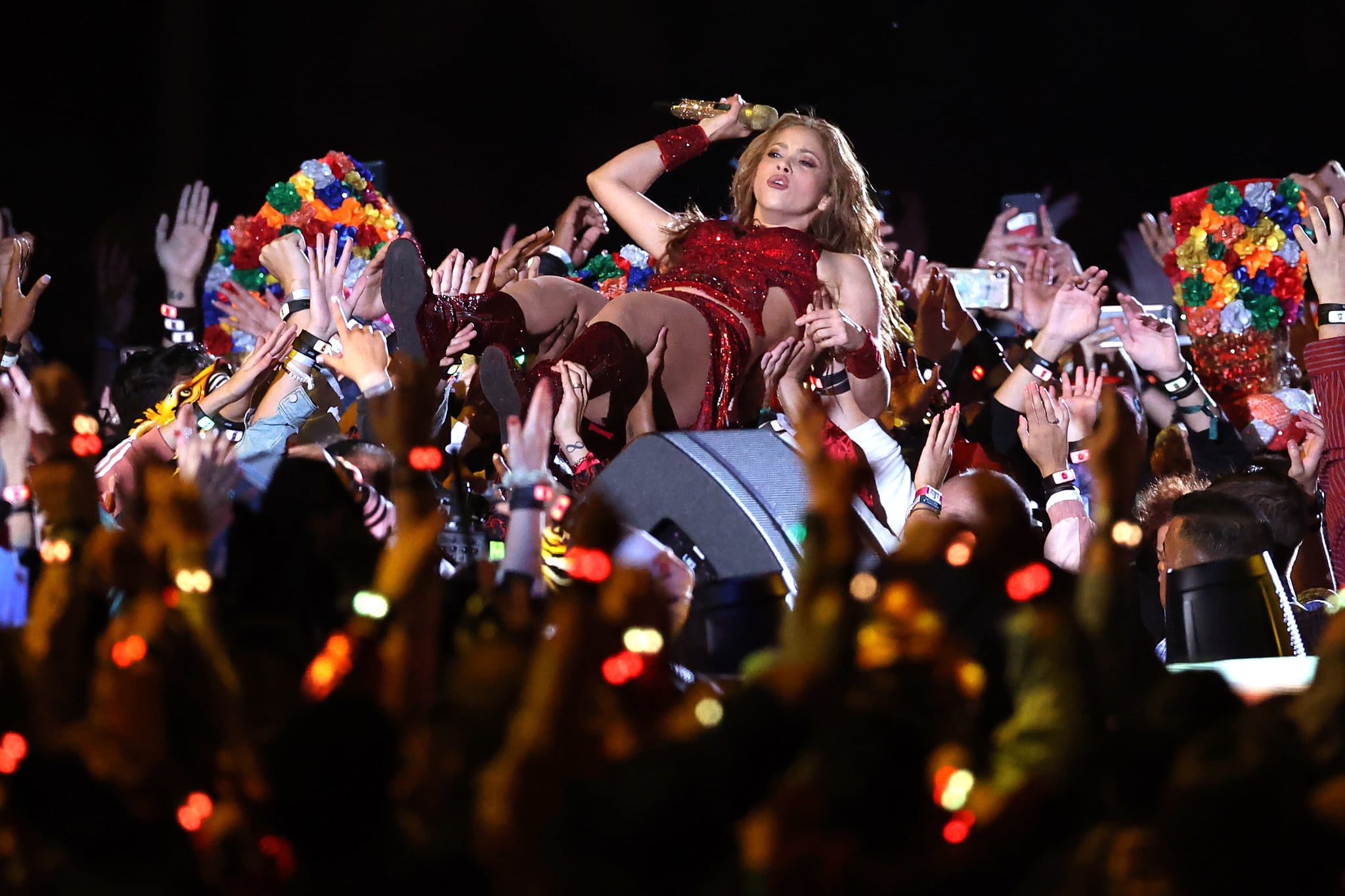 MIAMI, FLORIDA - FEBRUARY 02: Colombian singer Shakira performs during the Pepsi Super Bowl LIV Halftime Show at Hard Rock Stadium on February 02, 2020 in Miami, Florida. (Photo by Al Bello/Getty Images)
