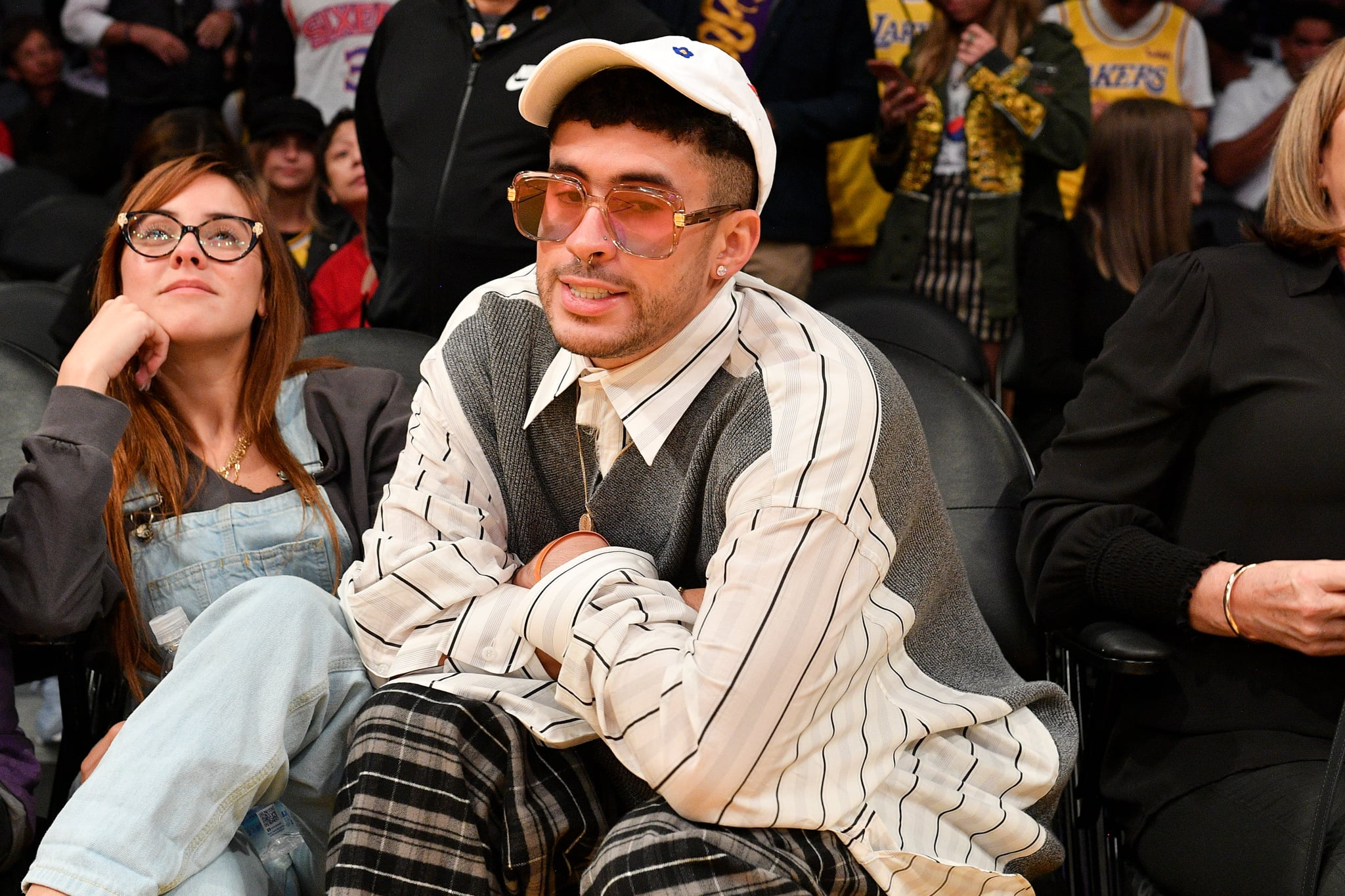 LOS ANGELES, CALIFORNIA - MARCH 03: Singer Bad Bunny attends a basketball game between the Los Angeles Lakers and the Philadelphia 76ers at Staples Center on March 03, 2020 in Los Angeles, California. (Photo by Allen Berezovsky/Getty Images)
